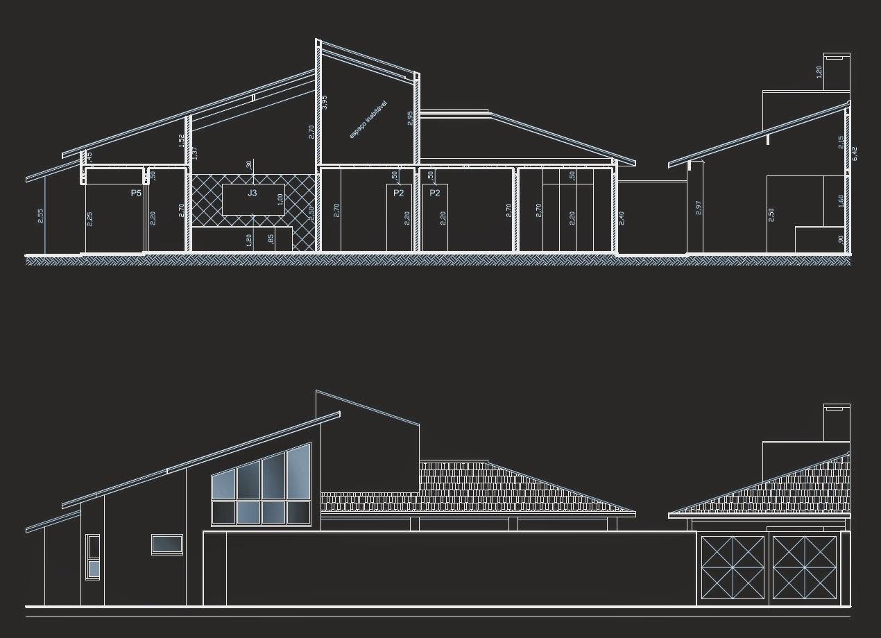 A seção longitudinal bem como a elevação lateral dos planos arquitetônicos salientam o conjunto da cozinha e salas com pé-direito elevado, dado a interrupção da laje forro neste segmento.