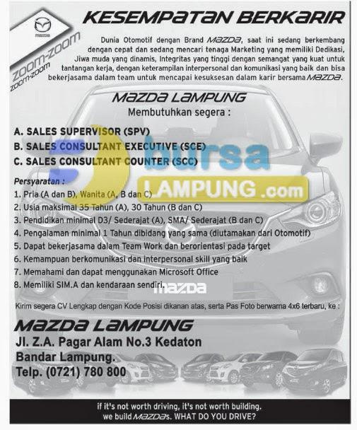 Lowongan Kerja Lampung, Senin 12 Januari 2015 di perusahaan MAZDA Lampung