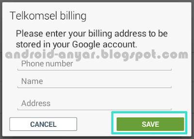 Mengisi identitas di Telkomsel Billing untuk membeli games Android