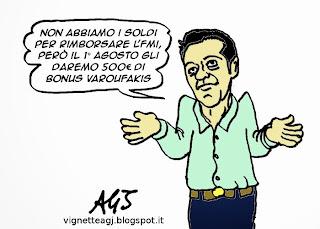 Tsipra, Syriza, FMI, satira, vignetta