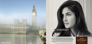 Bollywood star Katrina Kaif features in a print advert for Etihad Airways