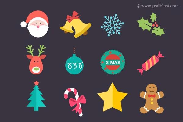 Flat Christmas Icon Set PSD