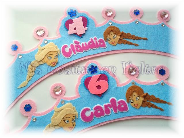 corona de cumpleaños, corona de fieltro, fiesta, Frozen, Anna y Elsa,   felt crown