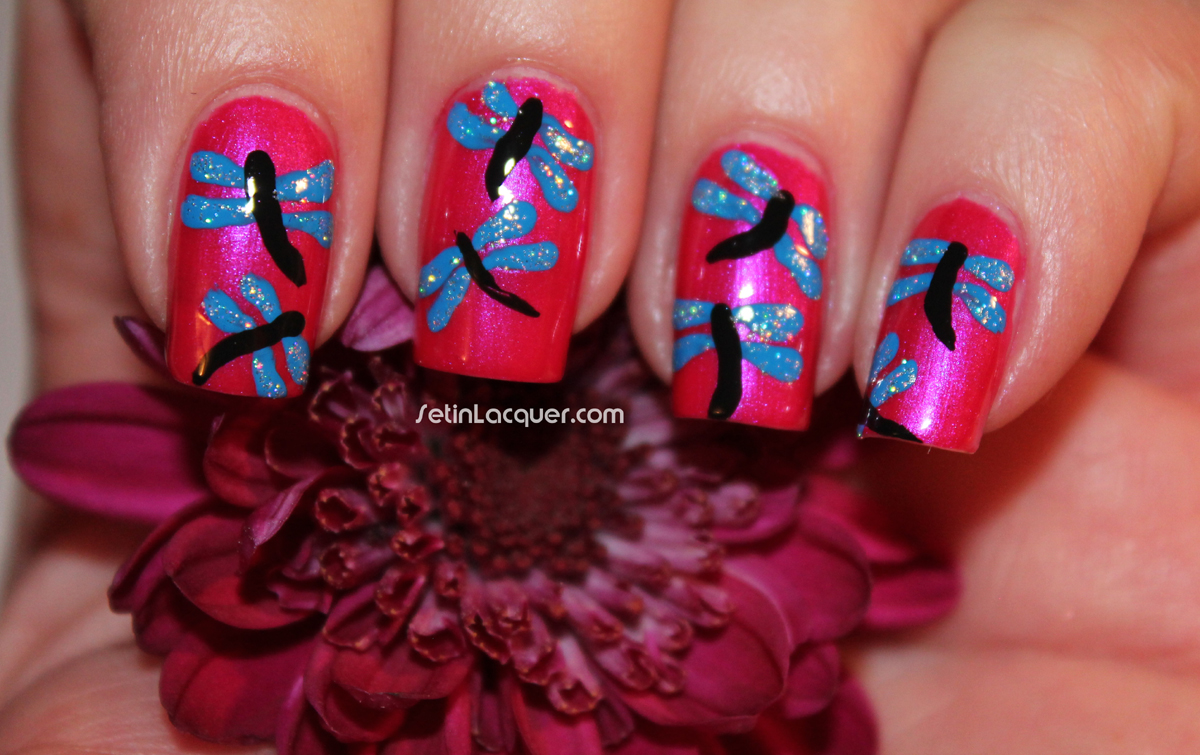 Dragonfly nail art - Glitter Dragonfly Nail Art - Set In Lacquer