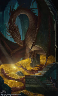 smaug-and-bilbo-hobbit-fan-art-yinyuming