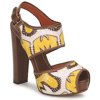 Brown, yellow and white high heel shoes