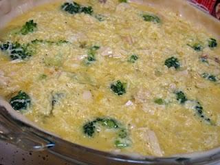Uncooked turkey broccoli quiche with egg mixture