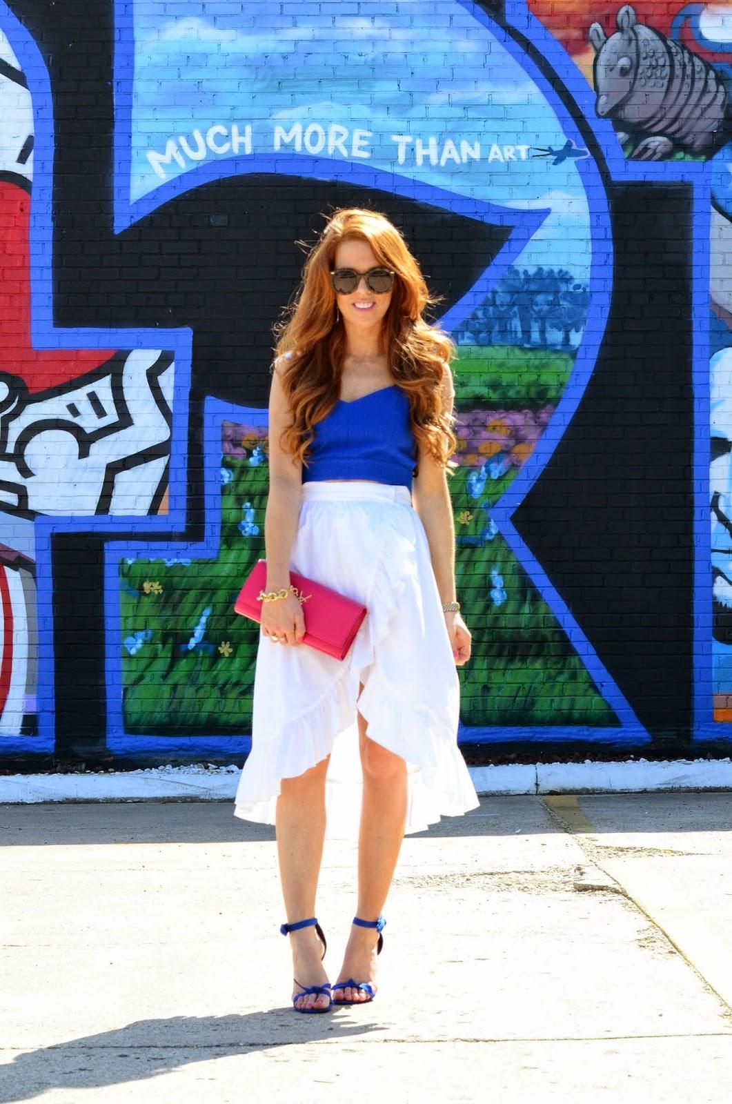 rebecca minkoff skirt and crop top