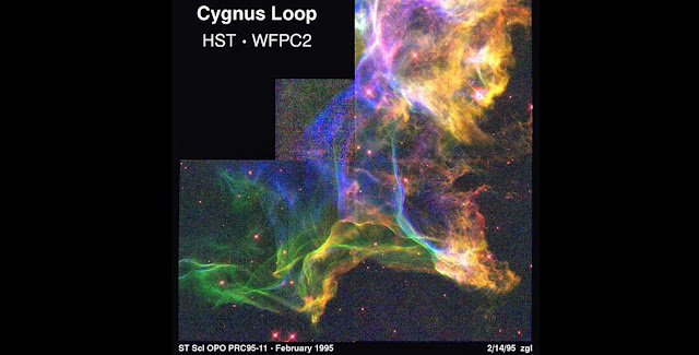 The Cygnus Loop – as captured by the Hubble Space Telescope in 1995 – is the remnant of a supernova that exploded 20,000 years ago. A NASA-funded sounding rocket was launched in early May to examine X-rays streaming from the remnant and help classify what particles are present. Credit: NASA/Hubble/J.Hester