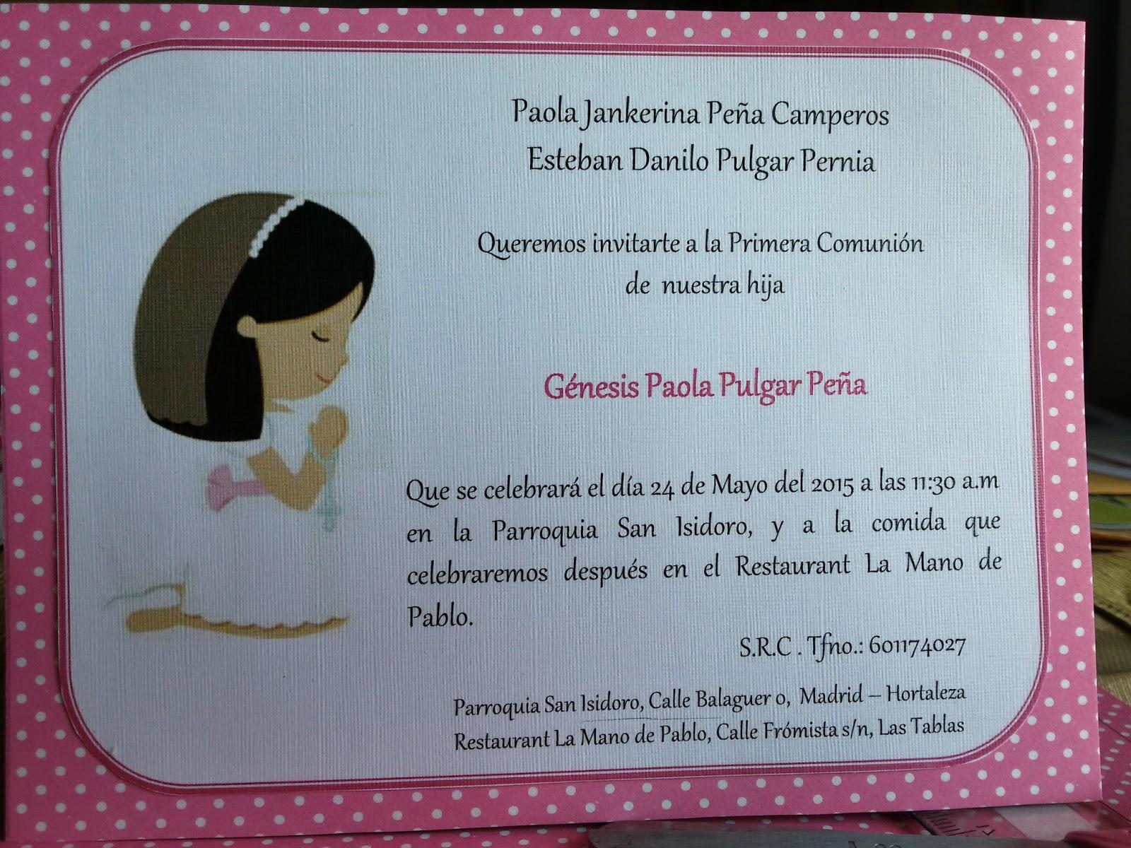 Novedades paola tarjetas de invitaci n o recordatorios - Como preparar una comunion en casa ...