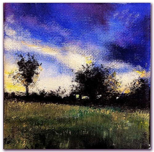 landscape painting of field and trees at a winter sunset