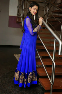 Richa Panai in Blue Anarkali Suit from ethnicpoint.com