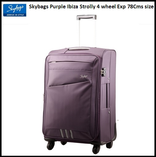 Skybags Purple Ibiza Strolly 4 wheel Exp 78Cms Worth Rs.8950 For Rs.4565 Only