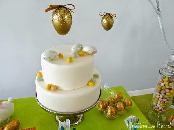 Gâteau décoré d'oeufs pour la Sweet table lapin de Pâques