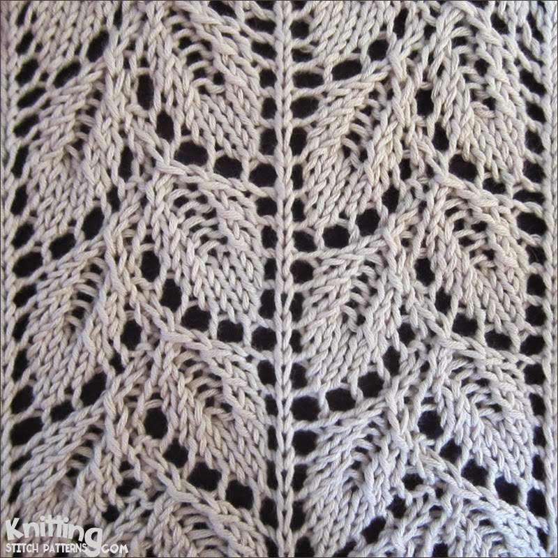 Knitting Lace Pattern : Drooping elm leaf knitting stitch patterns