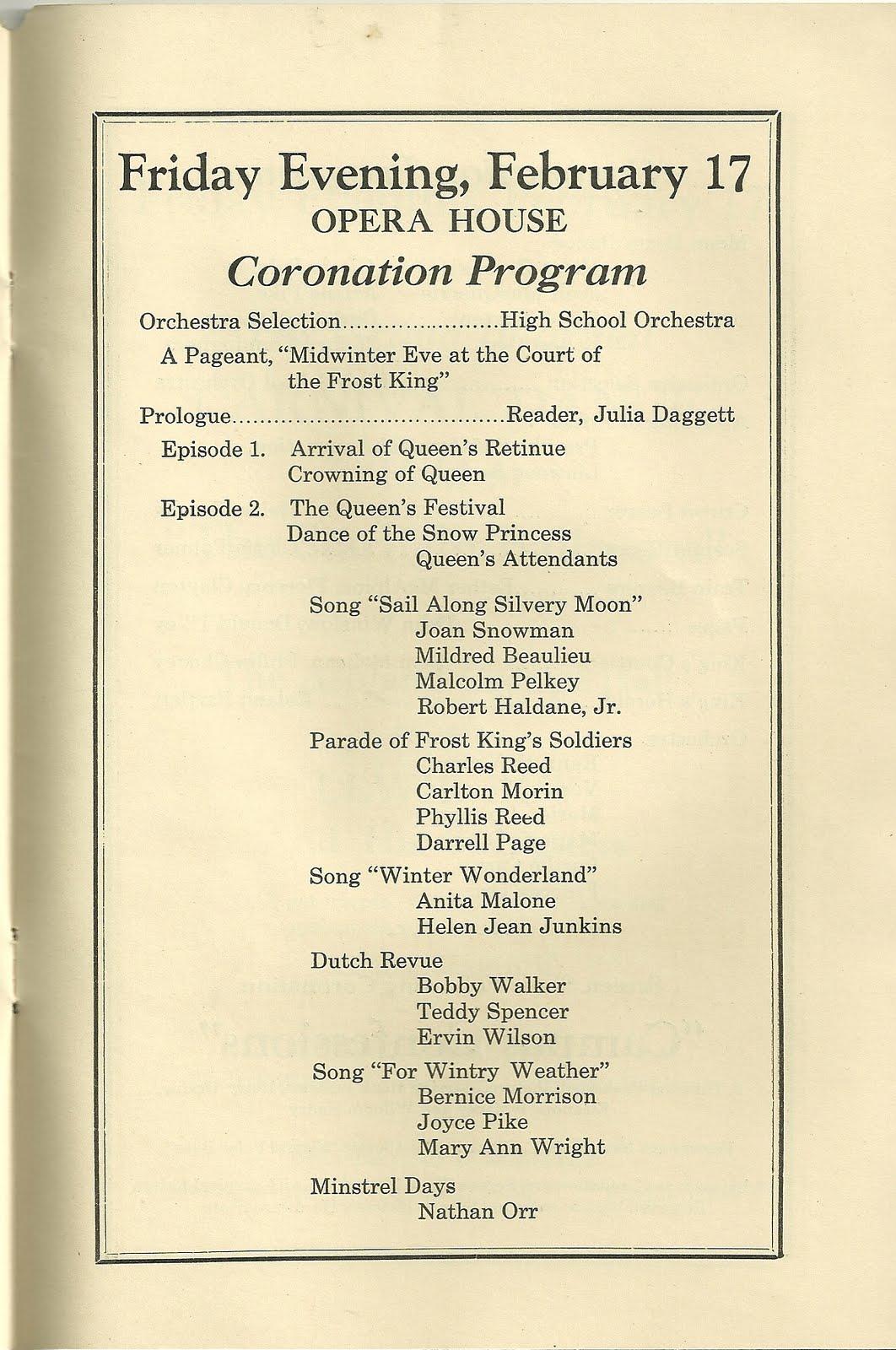 heirlooms reunited  1939 program winter carnival  u0026 school