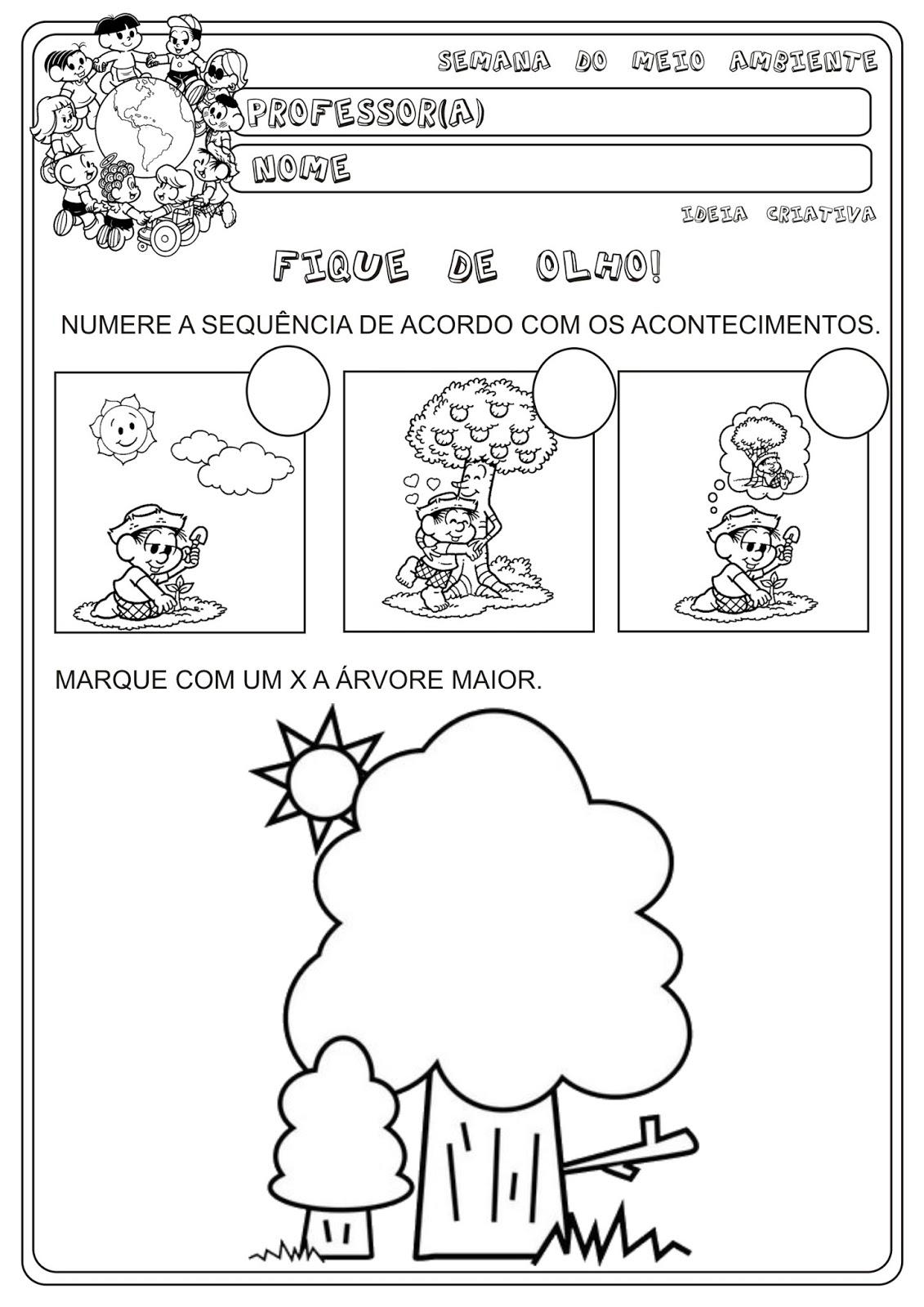 Excepcional Atividade Meio Ambiente Sequência | Ideia Criativa - Gi Barbosa  KY93