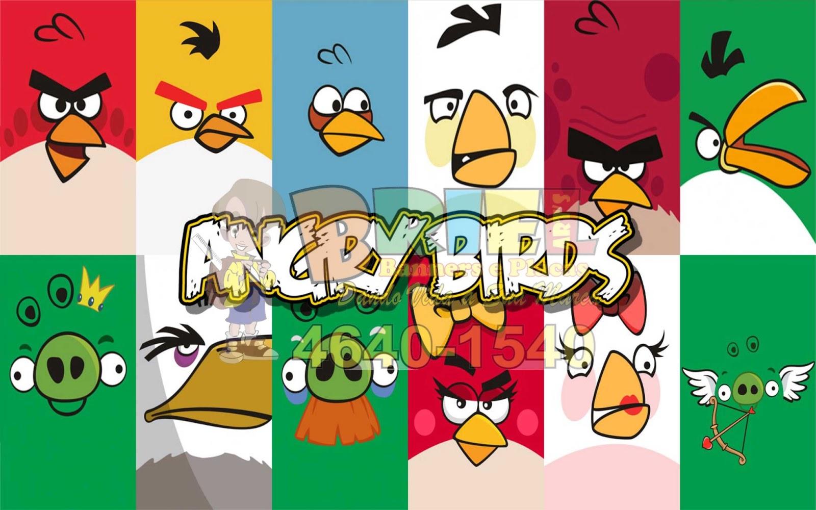 Dando Vida a Sua Marca! Painel de Aniversario Lona Fosca  Angry Birds