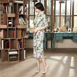 New 2016 Classic Half Sleeve Ladylike Floral Cotton Linen Past Knee Length Cheongsam