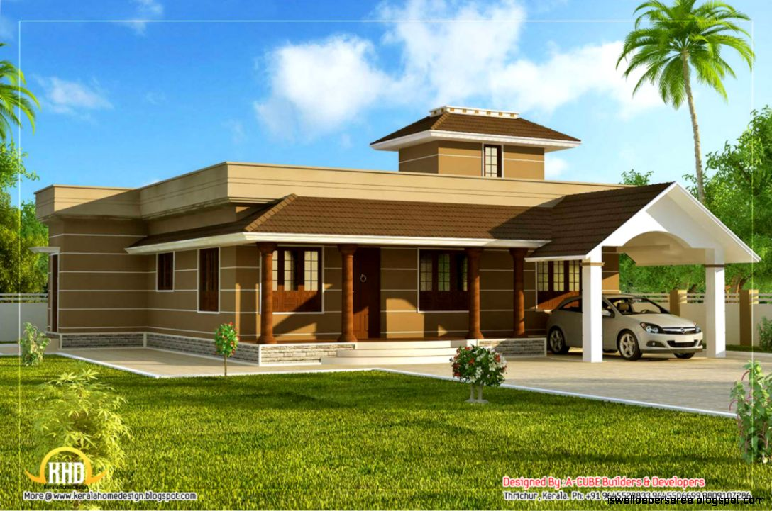 Single floor home design wallpapers area for Single floor house