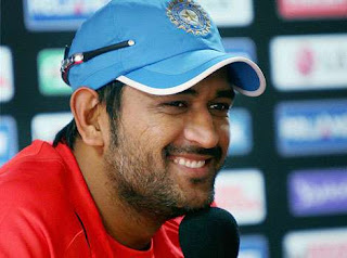 MS Dhoni in red