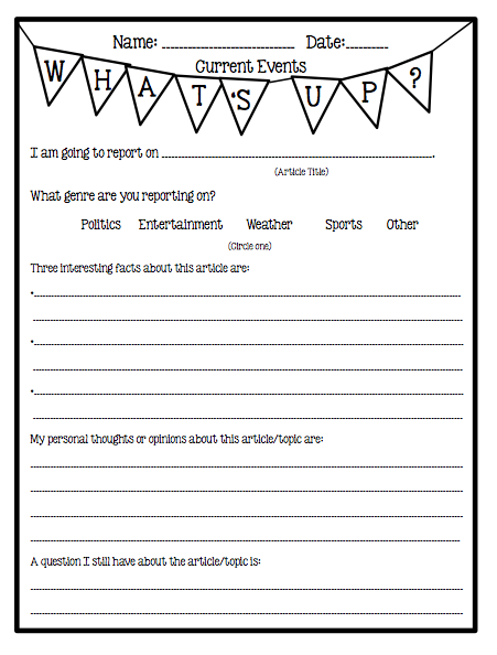 This is a graphic of Inventive Current Events Worksheet Printable