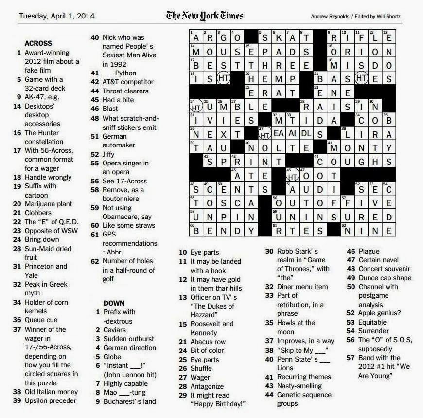 The new york times crossword in gothic 040114 heads or tails click on image to enlarge or right click and select open link in new window ccuart Choice Image