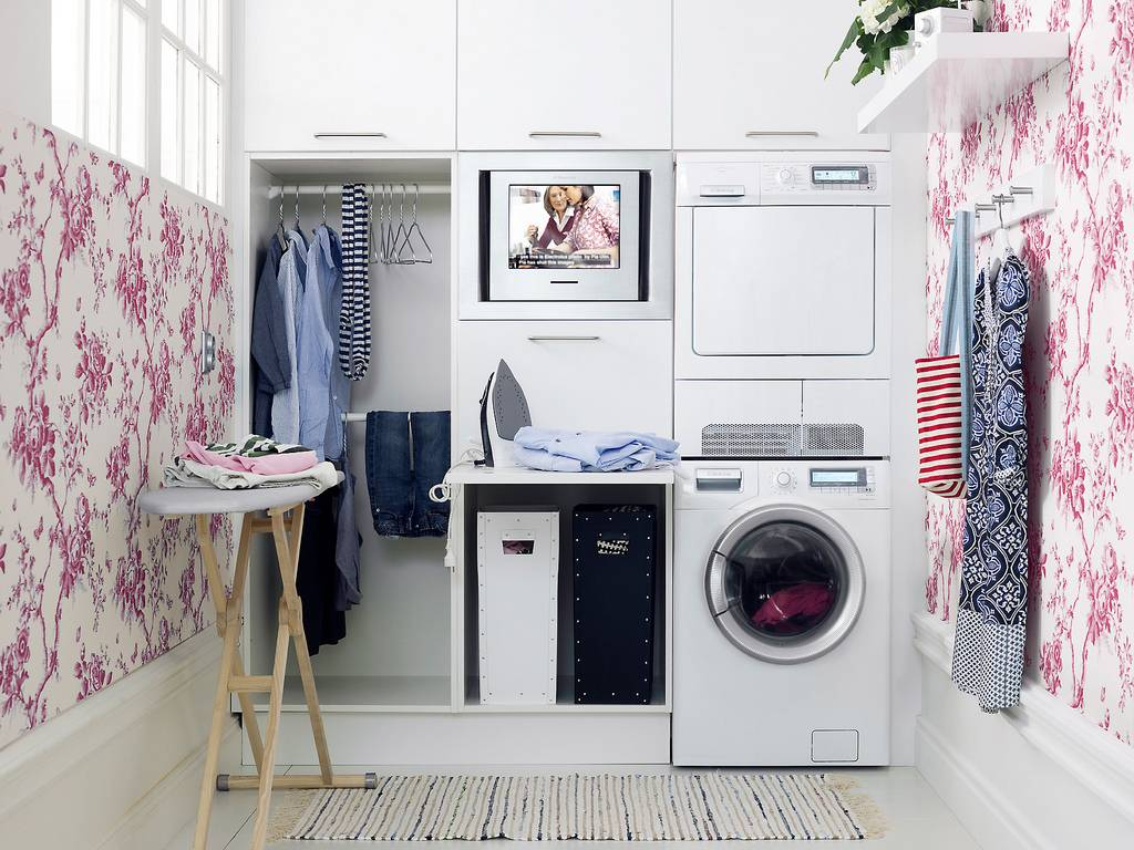 Laundry utility room space area washer dryer counter hanging stylish stackable flooring cabinets - Laundry rooms for small spaces decoration ...