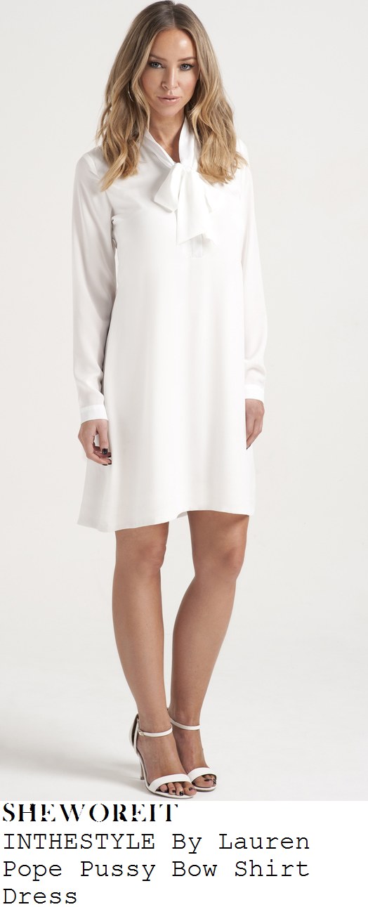 lauren-pope-white-tie-bow-detail-long-sleeve-dress