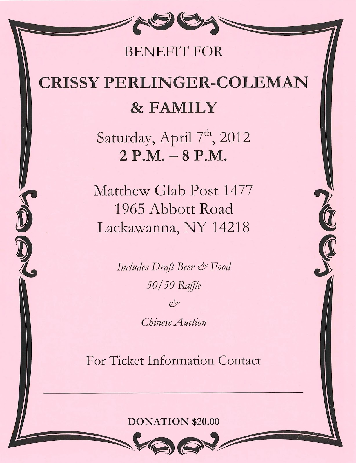 fighting cancer with crissy 2012 benefit flyer. Black Bedroom Furniture Sets. Home Design Ideas