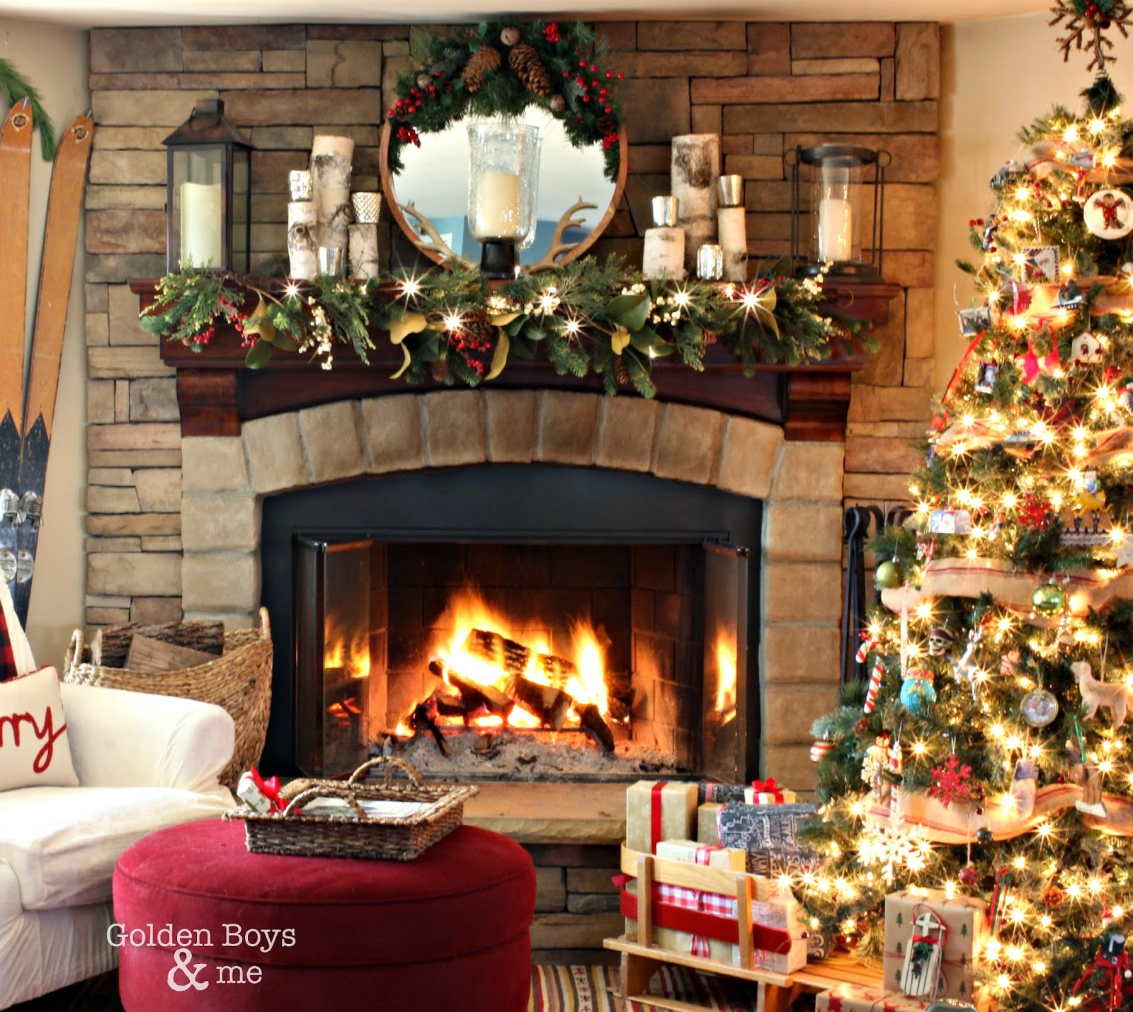 Corner stone fireplace in rustic lodge style Christmas family room-www.goldenboysandme.com