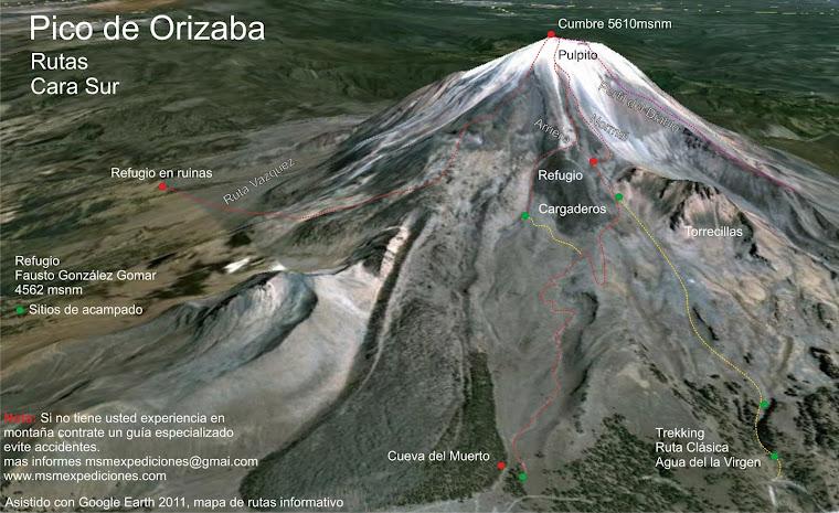 Mapa de Rutas del Pico de Orizaba