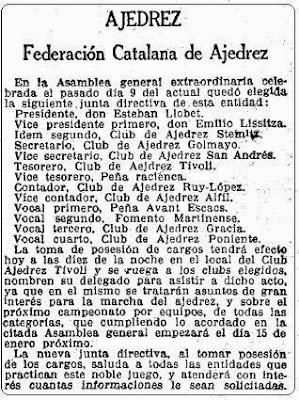 Recorte de La Vanguardia del 16 de diciembre 1929