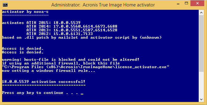 12 Jul 2012 Acronis True Image Home 2012 Serial Key, Activation Code 4.1.5.