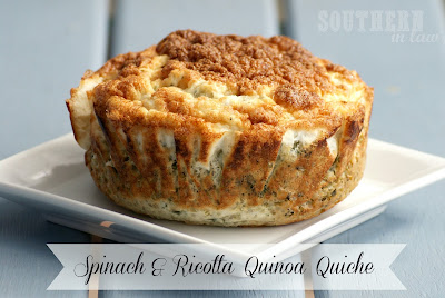 Crustless Spinach and Ricotta Quinoa Quiche Recipe