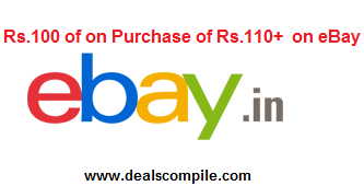 | Hurry || Ebay 100 off on 110+ coupon  available only on Freecharge mobile app
