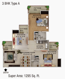 Cape Town :: Floor Plans,3 BHK Type A Super Area - 1295 Sq. Ft.