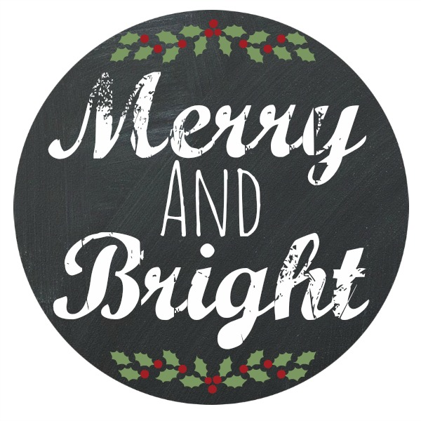 Merry and Bright Chalkboard Printable from Blissful Roots