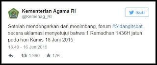 Hasil Sidang Itsbat Menetapkan 1 Ramadhan 1436 H Jatuh Pada 18 Juni 2015