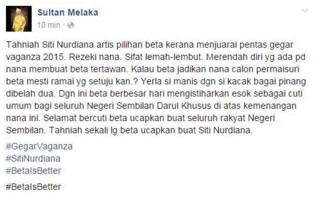 Adakah Siti Nordiana akan menerima lamaran Sultan ini?