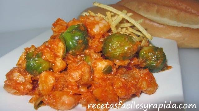 migas de bacalao con gambas tomate y coles