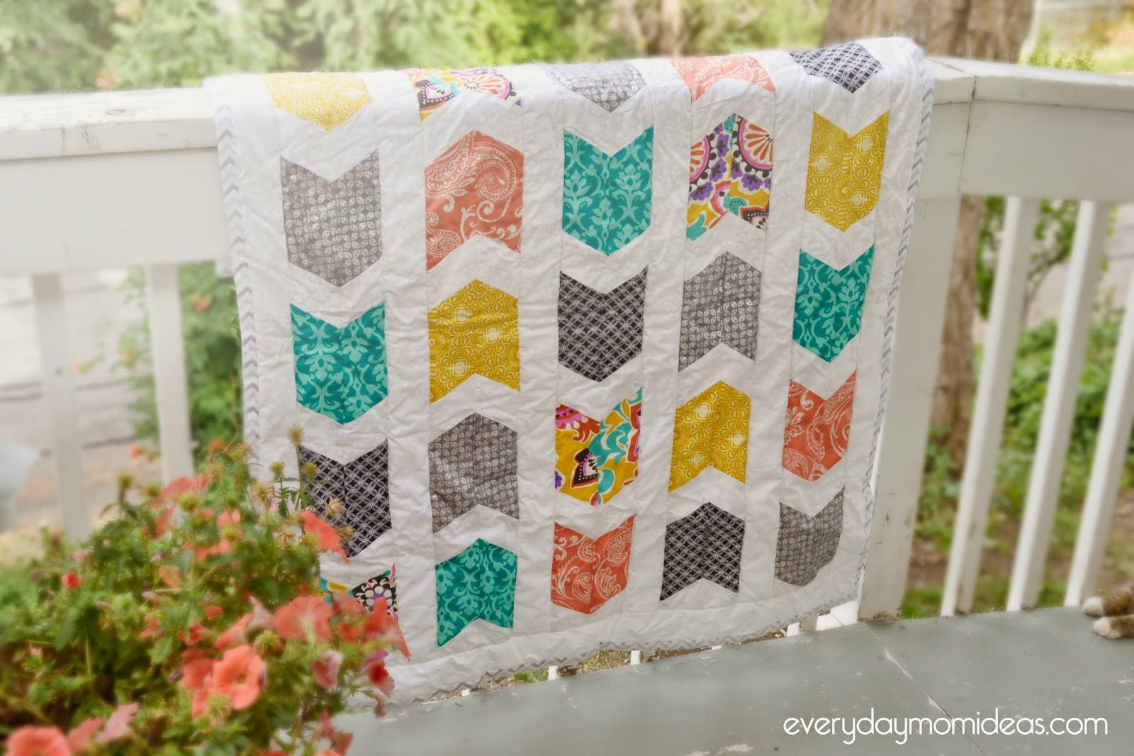 My First Quilt Tribal Baby Quilt Without A Pattern Everyday Mom