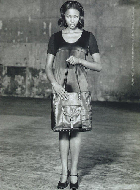 Prada's advertising campaign with Naomi Campbell holding bag, 94