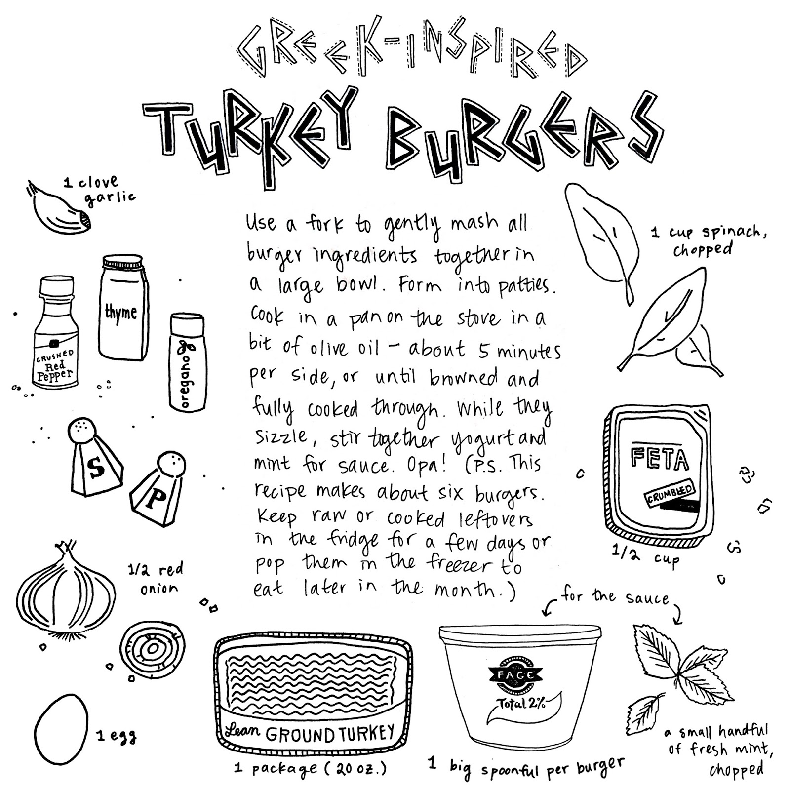 greek-inspired turkey burgers || pantopaper.com