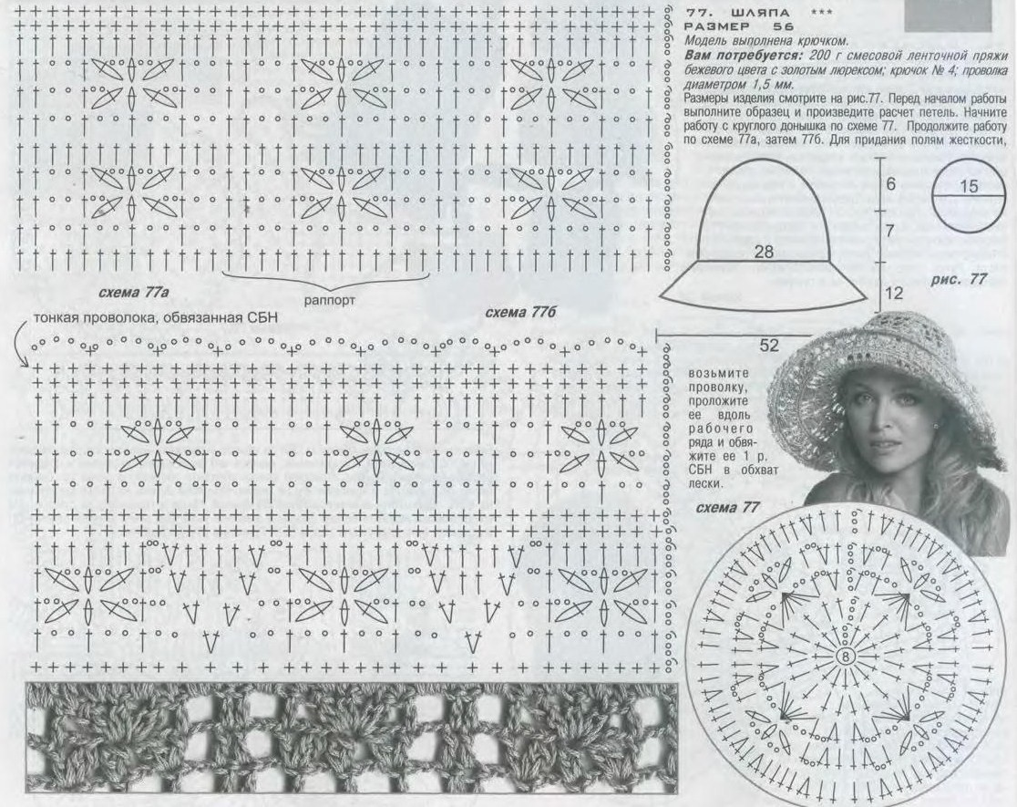 Шляпка женская крючком схема с