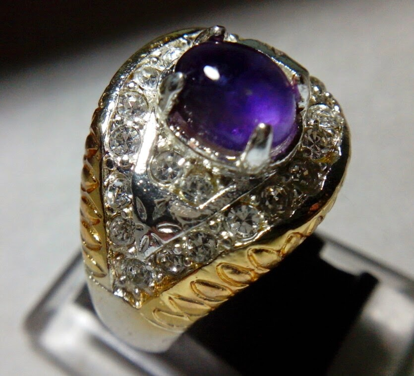 Batu Cincin Ametis Ikat Titanium