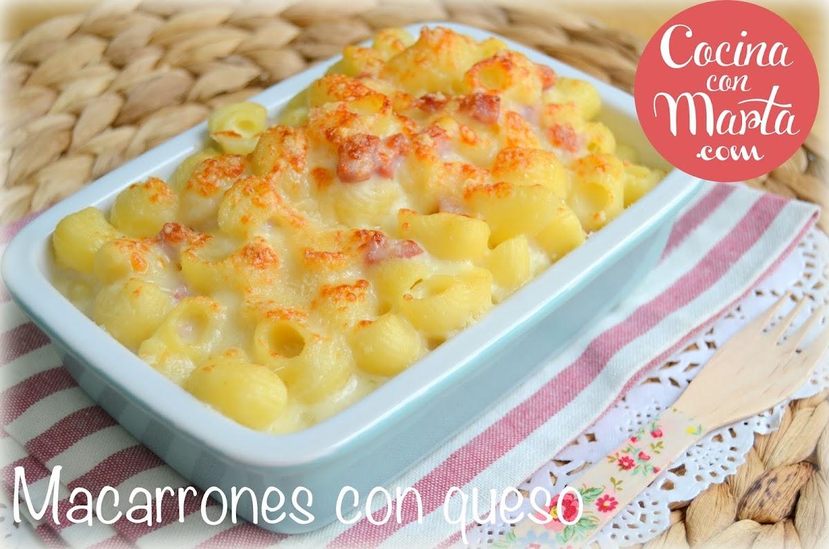 macarrones con queso y bacon, receta casera de pasta, Cocina con Marta. Fácil, rápido, sencillo. Comida para niños.
