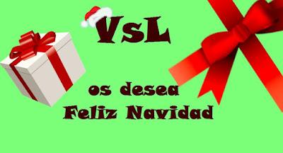 Postal navideña con el lemaVsL os desea Feliz Navidad en el centro y un paquete de regalo a la izquierda y un lazo a la derecha