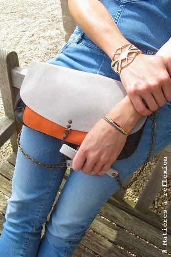 Pochette  en cuir orange et gris perle Matières à réflexion