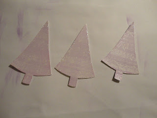 Purple embossed tree shapes with glitter